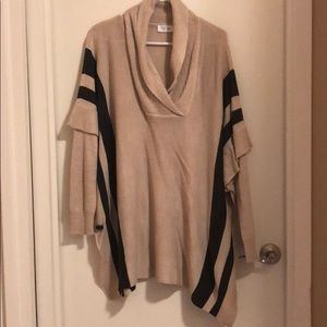 Tan and Gray Cowl Neck Sweater